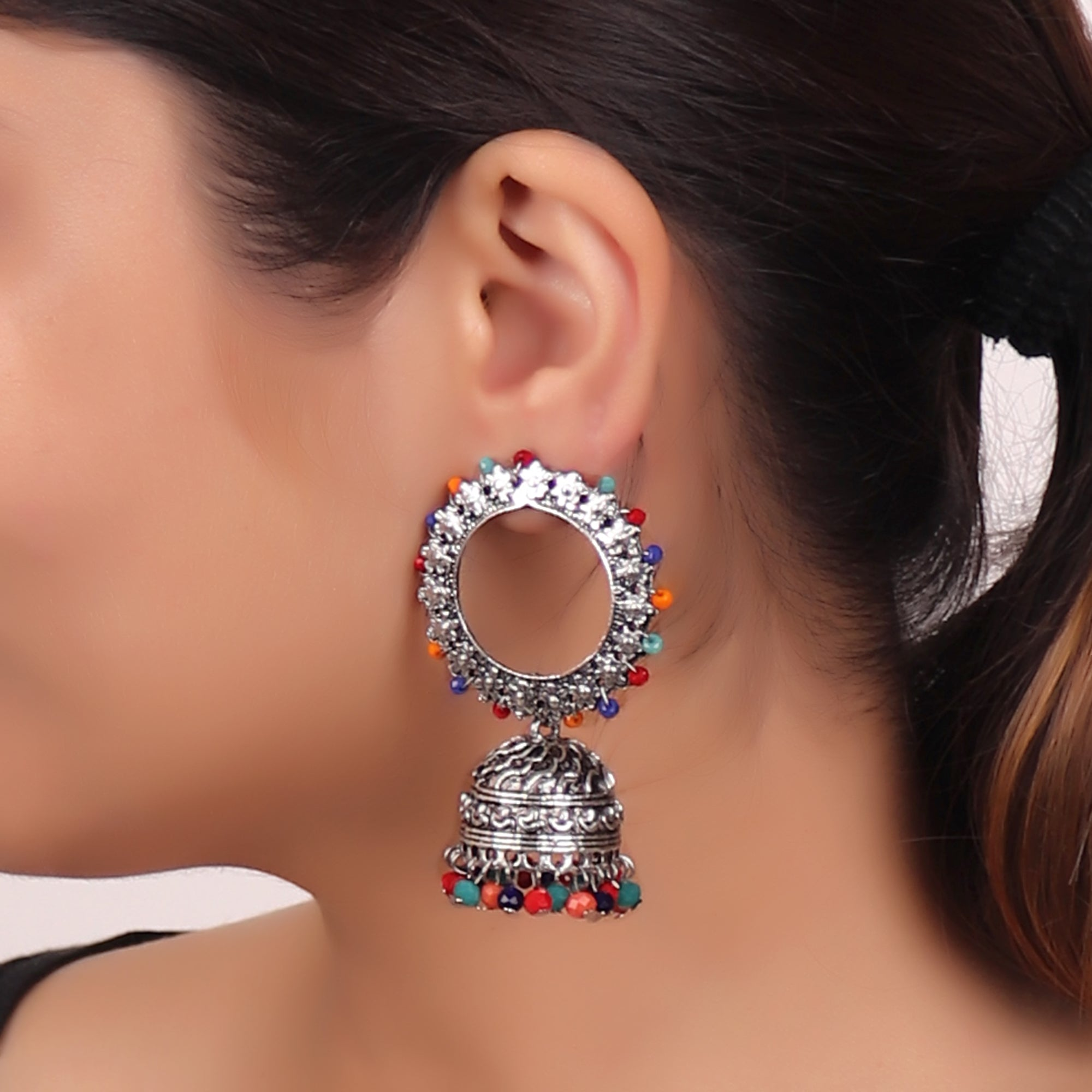 Earrings,Endearing Earrings with Jhoomer in Multicolor - Cippele Multi Store