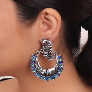 Earrings,The Peacock in the Moon in Midnight Blue & Turquoise - Cippele Multi Store