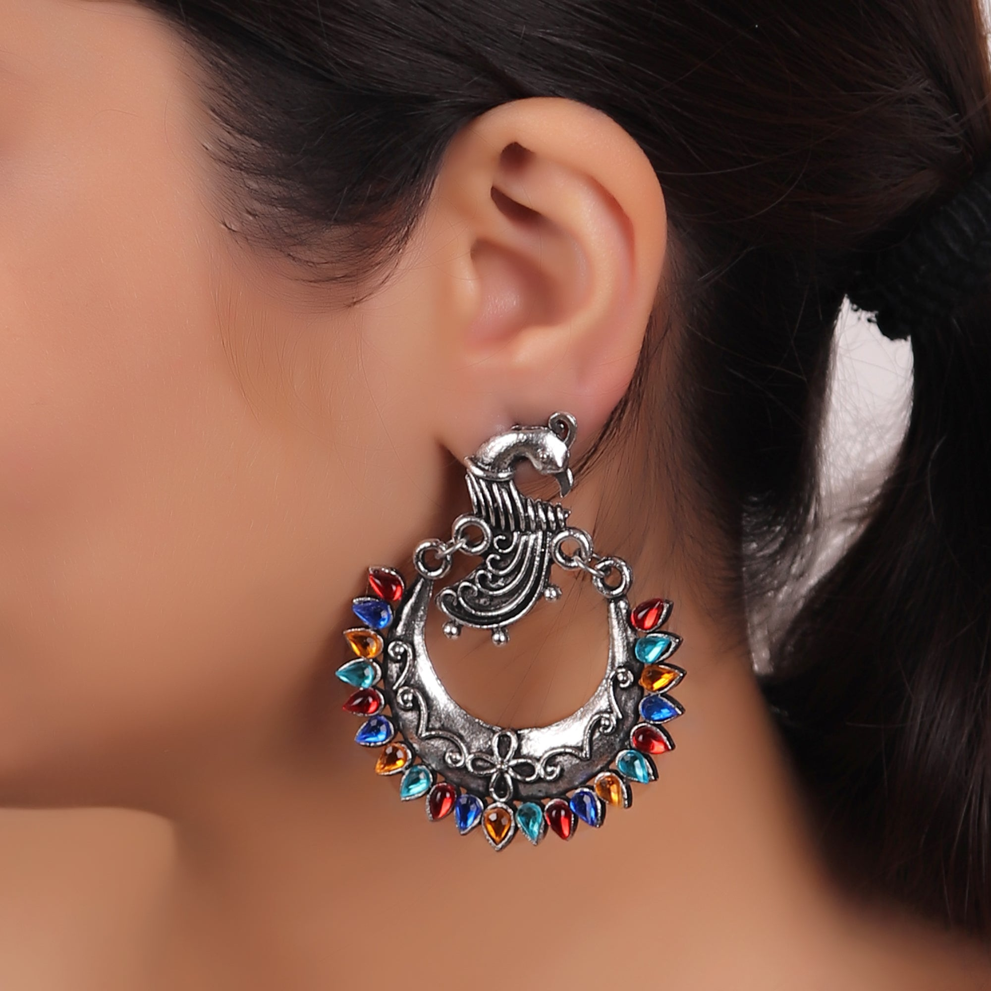 Earrings,The Peacock in the Moon in Multicolor - Cippele Multi Store