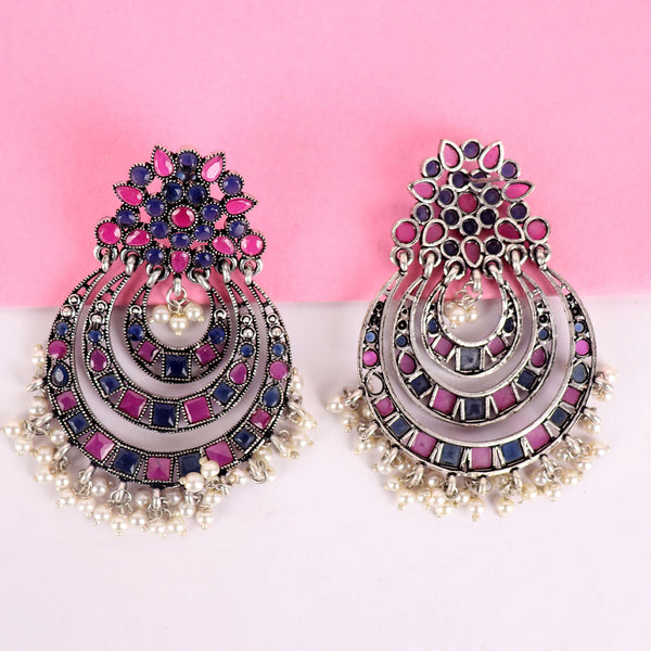 Earrings,The Nagma Earring with Magenta & Blue Stone - Cippele Multi Store