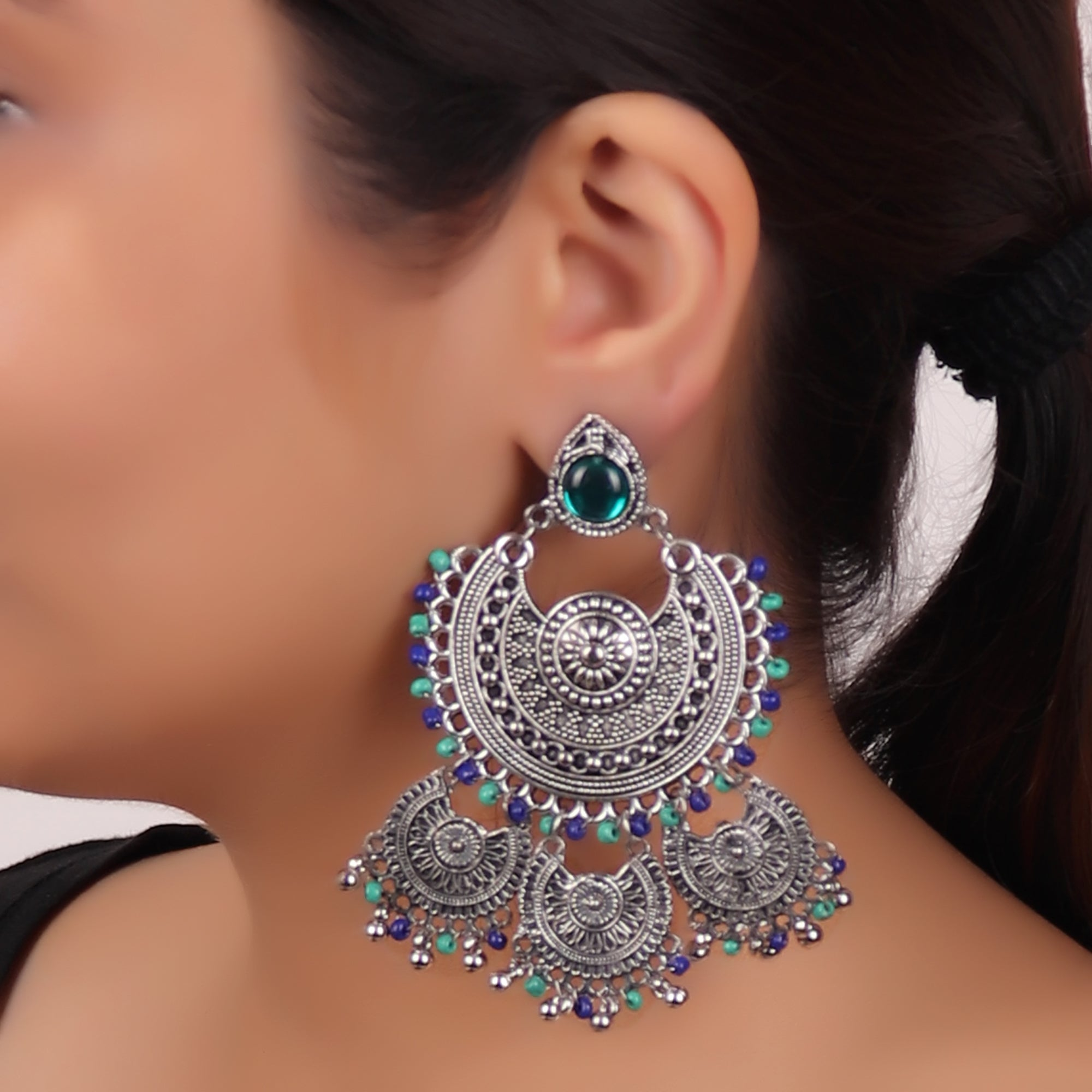 Earrings,The Galaxy Earring in Green & Blue - Cippele Multi Store
