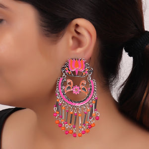 Earrings,The Flower Feathered Bird in Pink & Orange - Cippele Multi Store