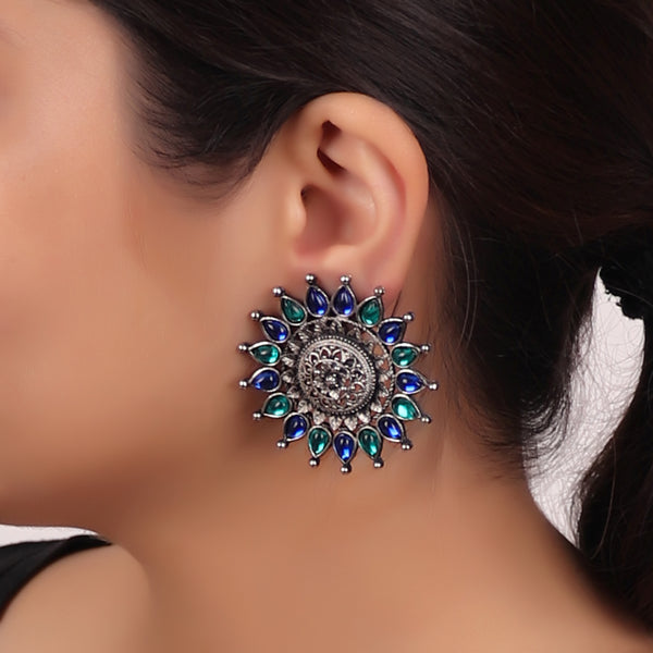 The Sun Flower Studs in Sea Blue & Sea Green