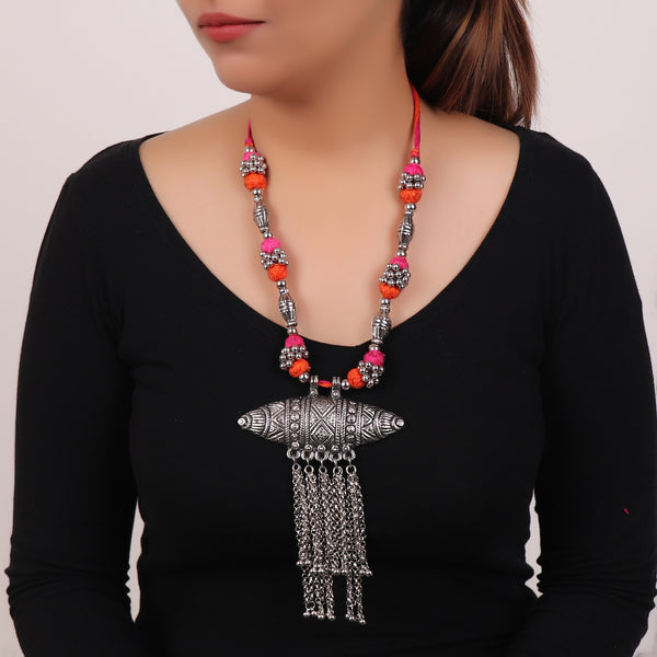 The Assamese Inspired Oxidized Silver Gohona in Pink & Orange