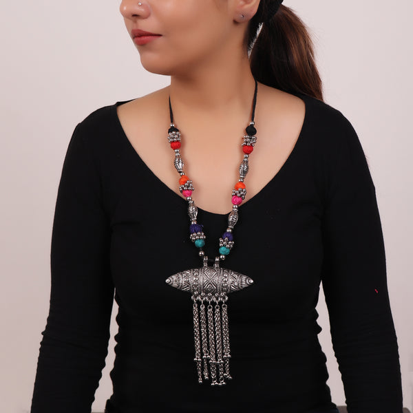 Necklace,The Assamese Inspired Oxidized Silver Gohona in Multicolor - Cippele Multi Store