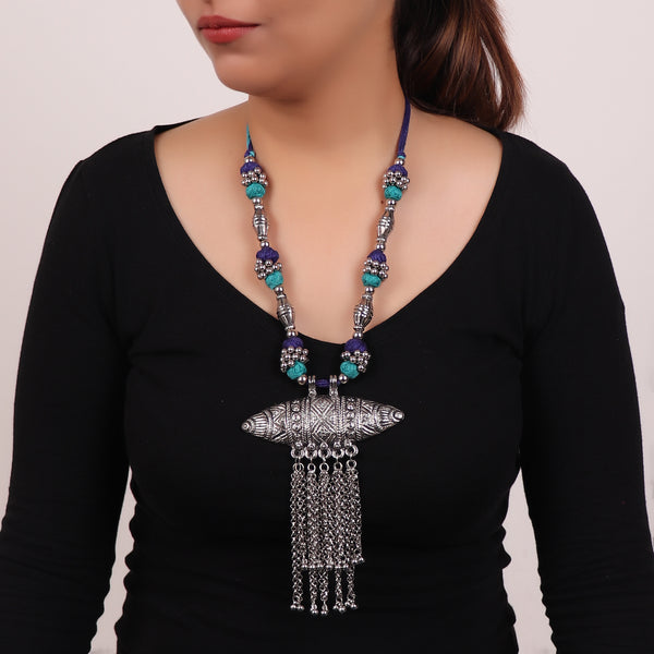 The Assamese Inspired Oxidized Silver Gohona in Blue & Green