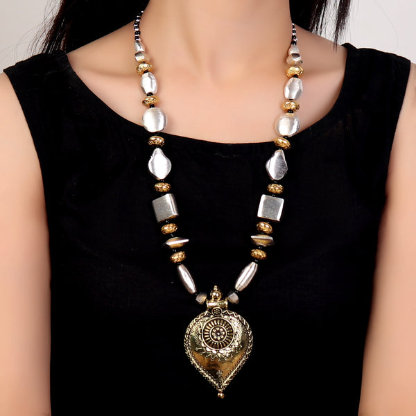 Necklace,Daytime Basic Necklace in Dual Tone - Cippele Multi Store