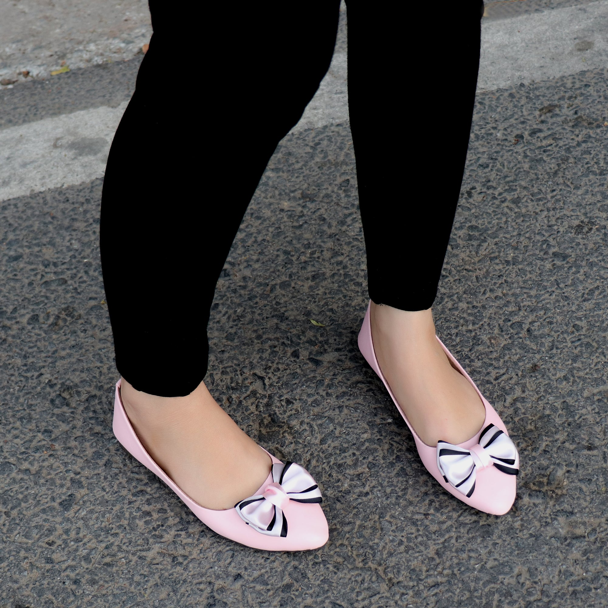 Foot Wear,Satin Bow Bellies in Pink - Cippele Multi Store