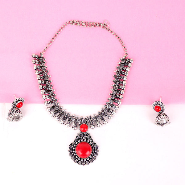 The African Ankara Red Stone Necklace Set