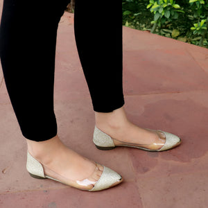 Foot Wear,Glitter Transparent Ballet Flats in Golden - Cippele Multi Store