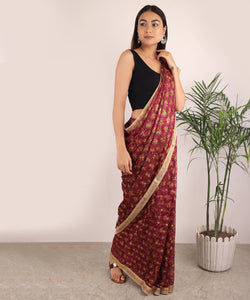 Saree,The Floral Phulkari Saree in Multicolor - Cippele Multi Store