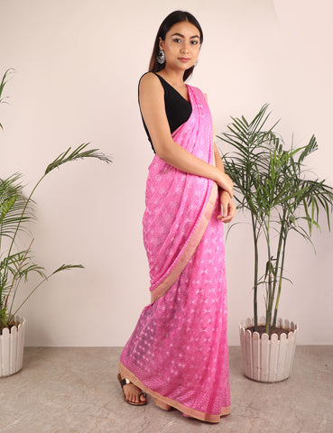 Saree,The Floral Phulkari Saree in Pink - Cippele Multi Store