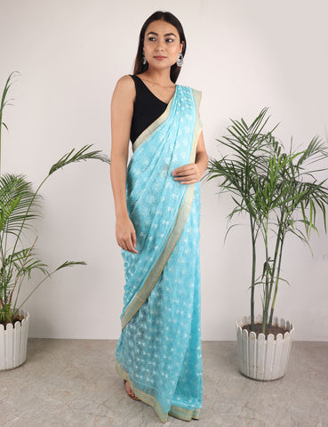 The Floral Phulkari Saree in Sky blue