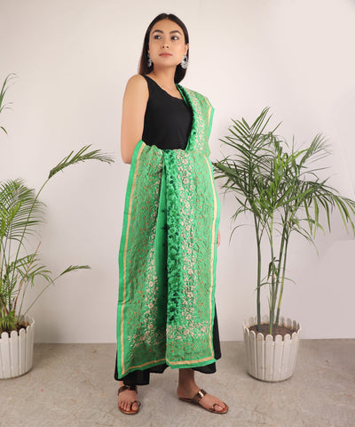 The Green Gulmohar Phulkari Dupatta