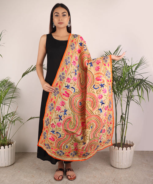 Dupatta,The Colorful Braided Phulkari Dupatta - Cippele Multi Store