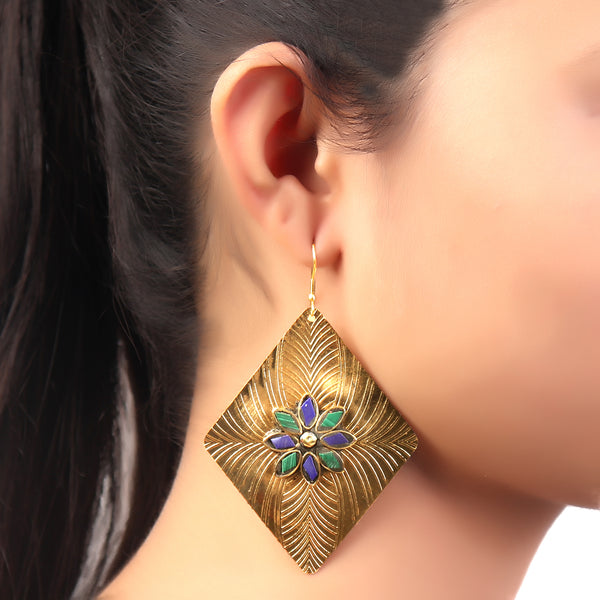 Earrings,Golden Rectangle Earrings in Green & Blue - Cippele Multi Store
