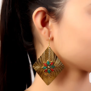 Earrings,Golden Rectangle Earrings - Cippele Multi Store
