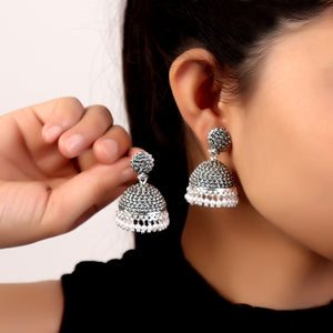 Earrings,Silver Jhumkas with Intricate work - Cippele Multi Store