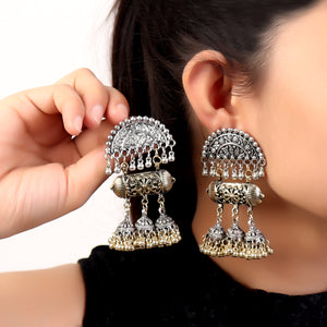 Earrings,Dholki Dance Earrings in Dual Tone - Cippele Multi Store