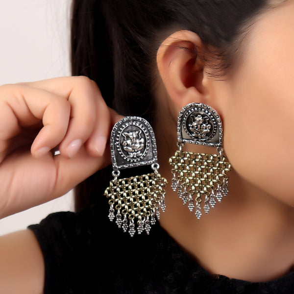 Earrings,Ganpati Grace Earrings in Dual Tone - Cippele Multi Store