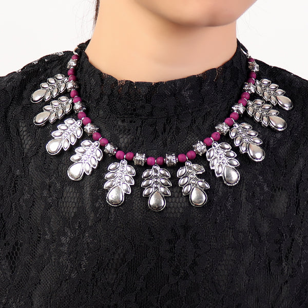 Necklace,Leafy Love Necklace in Purple - Cippele Multi Store