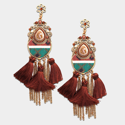 Earrings,Thick Brown Tassels Earrings - Cippele Multi Store