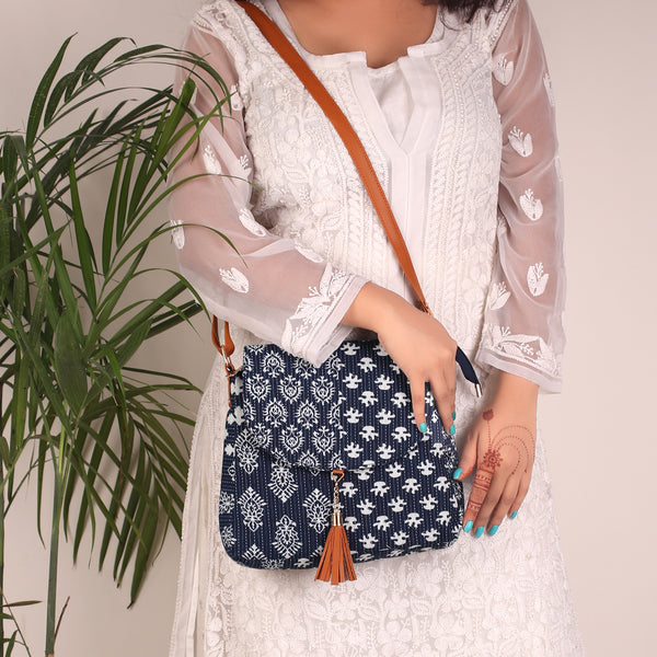 Sling Bag,The Blue Art Tassel Sling Bag - Cippele Multi Store