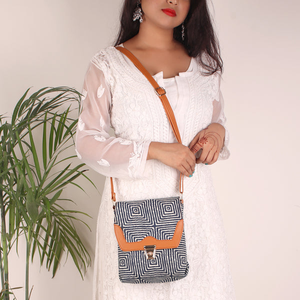 Sling Bag,The White & Blue Maze Buckle Sling Bag - Cippele Multi Store