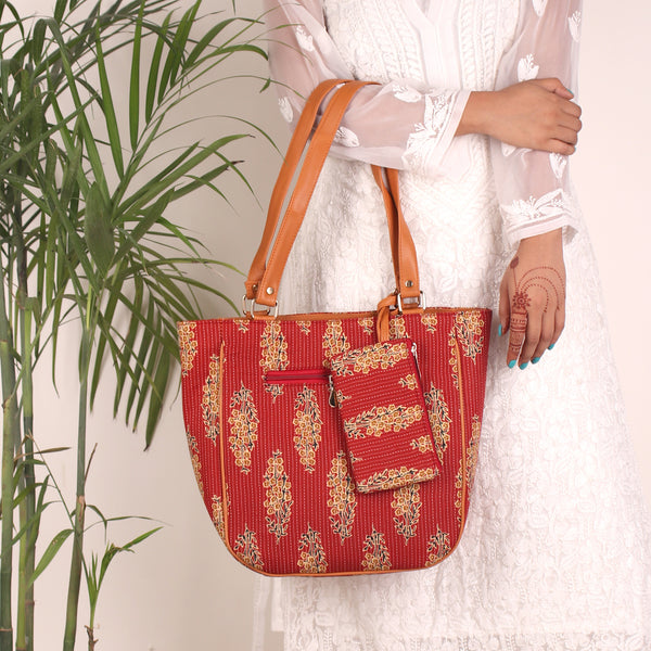 Tote Bag,The Kopou Phool Combo Tote Bag in Red - Cippele Multi Store