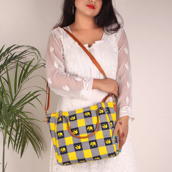 Tote Bag,The Bishop chequered Fabric Tote Bag - Cippele Multi Store