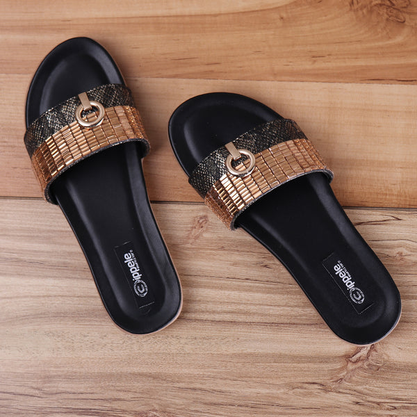 Foot Wear,Black Sliders with Rose-gold detailing - Cippele Multi Store