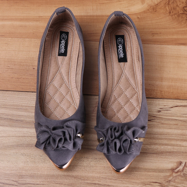 Foot Wear,Dark Grey Suede Ballet Flats - Cippele Multi Store