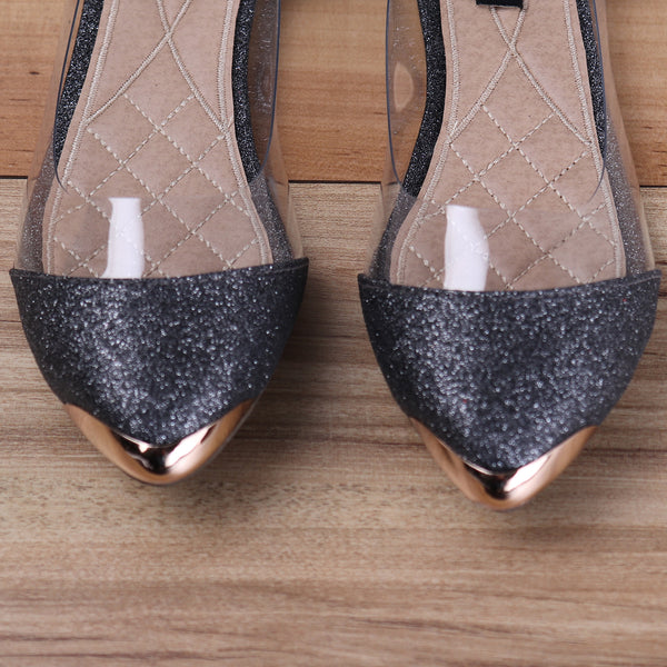 Foot Wear,Glitter Transparent Ballet Flats in Grey - Cippele Multi Store
