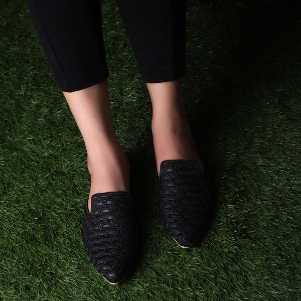 Foot Wear,The Quintessential Fabric Blocks Black Mules - Cippele Multi Store
