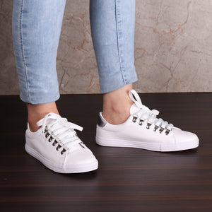 Foot Wear,White Sneaker with Silver Accents - Cippele Multi Store