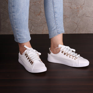 Foot Wear,White Sneaker with Golden Accents - Cippele Multi Store