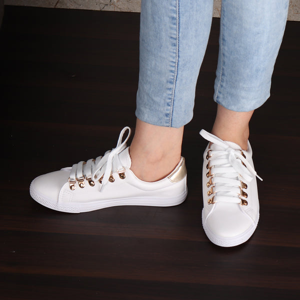 White Sneaker with Golden Accents