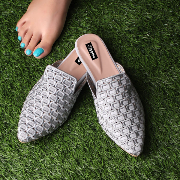 Foot Wear,The Quintessential Fabric Blocks Grey Mules - Cippele Multi Store