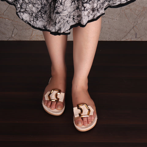 Foot Wear,Cream sliders with Buckle-detailing - Cippele Multi Store