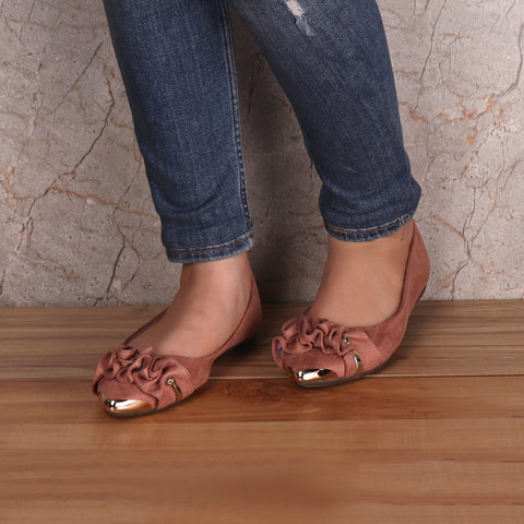 Foot Wear,Rose Gold Suede Ballet Flats - Cippele Multi Store