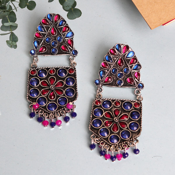 The Flower Pearl Afghani earing in Blue & Magenta