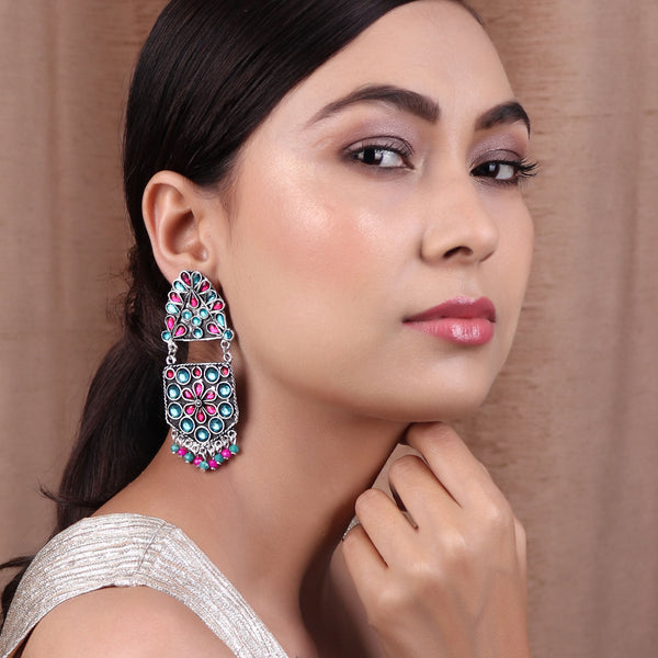 The Flower Pearl Afghani earing in Turquoise Blue & Magenta