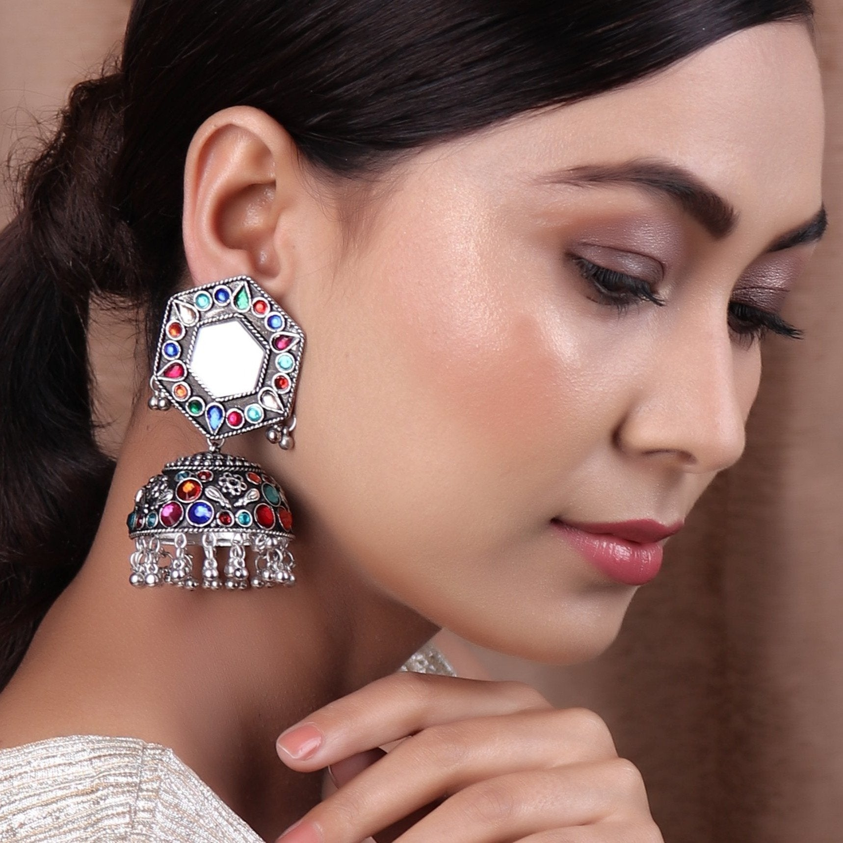 Earrings,Jhoomer Earring with Rhinestones and Mirror in Multicolor - Cippele Multi Store