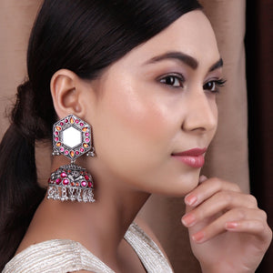 Earrings,Jhoomer Earring with Rhinestones and Mirror in Pink & Orange - Cippele Multi Store