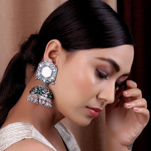 Earrings,Jhoomer Earring with Rhinestones and Mirror in Green & Cream - Cippele Multi Store