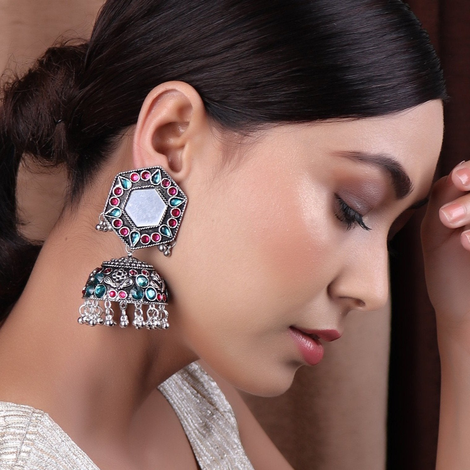 Earrings,Jhoomer Earring with Rhinestones and Mirror in Turquoise Blue & Magenta - Cippele Multi Store