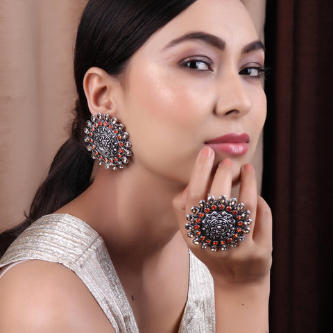 Ring & Earring Set,The Glorified Earring and The Ring set in Orange & Cream - Cippele Multi Store