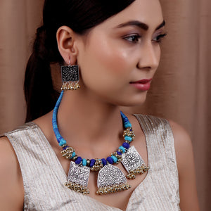 Necklace Set,The Cheerful Necklace Set in Blue Thread - Cippele Multi Store