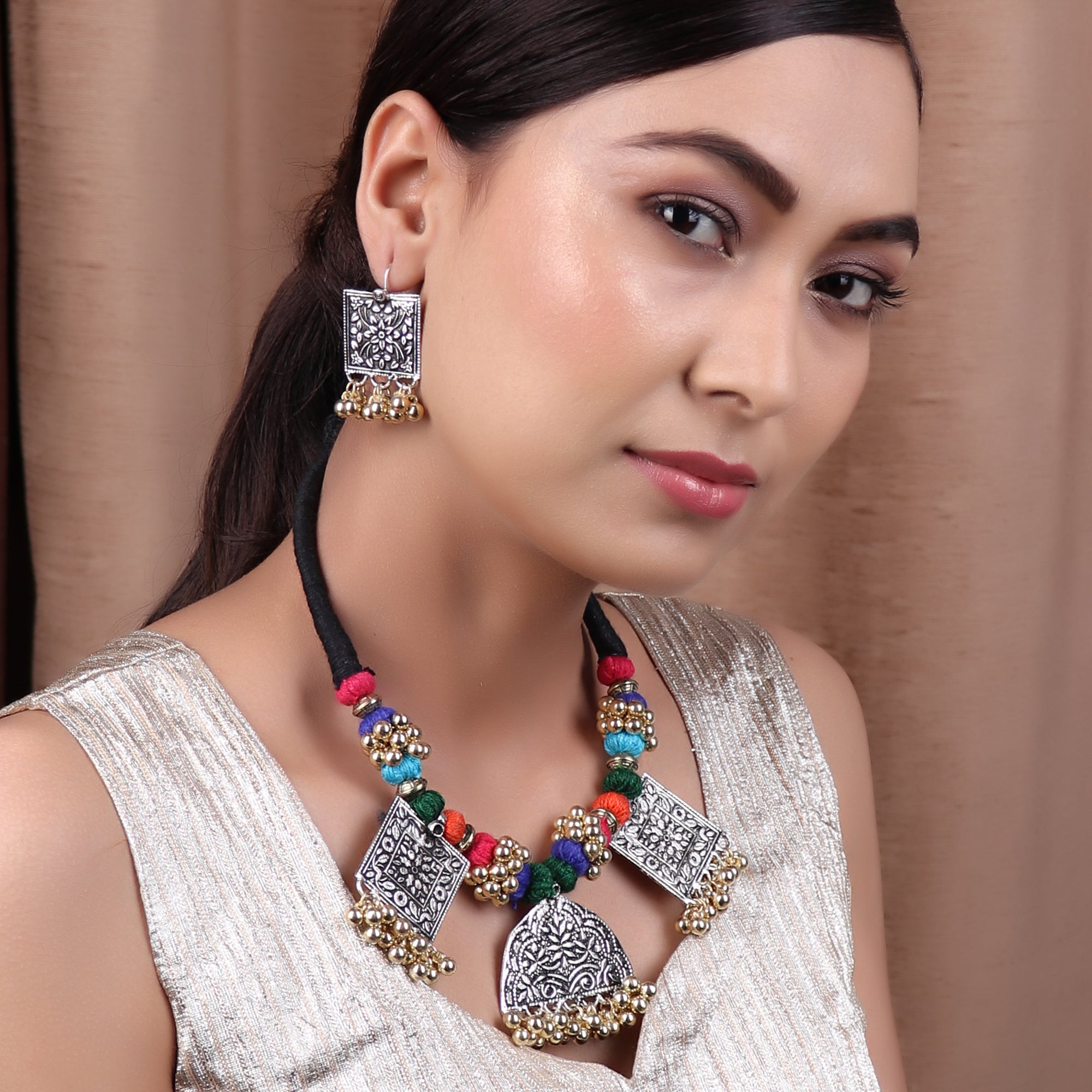 Necklace Set,The Cheerful Necklace Set in Multicolor Thread - Cippele Multi Store