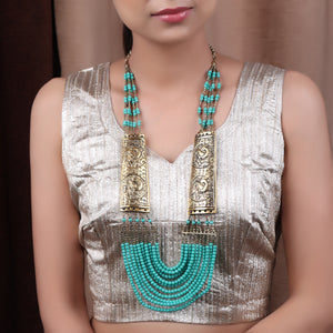 Necklace,Green Beaded Necklace with Golden Plates - Cippele Multi Store